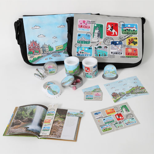 Souvenir bags, mugs and stamps